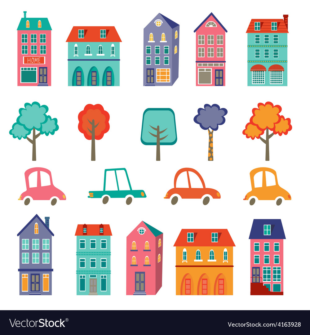 Colorful cute city collection - cars houses and vector | Price: 1 Credit (USD $1)