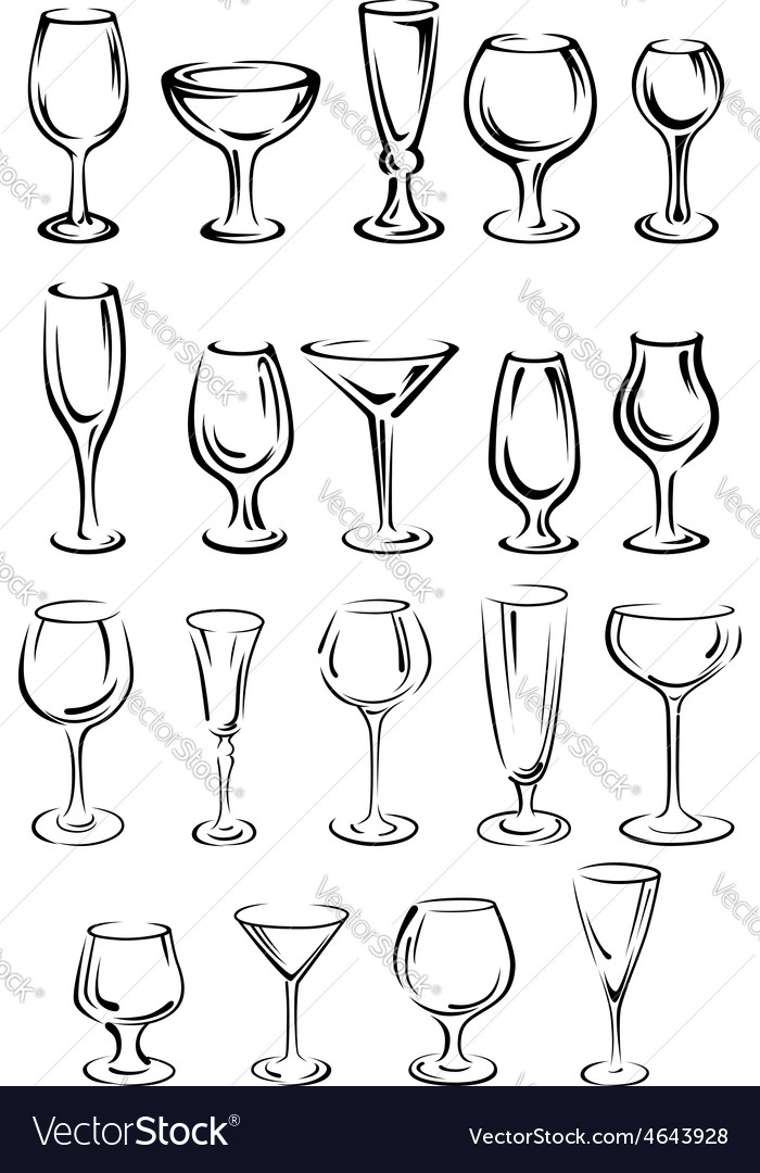 Doodle glassware and dishware sketches set vector | Price: 1 Credit (USD $1)