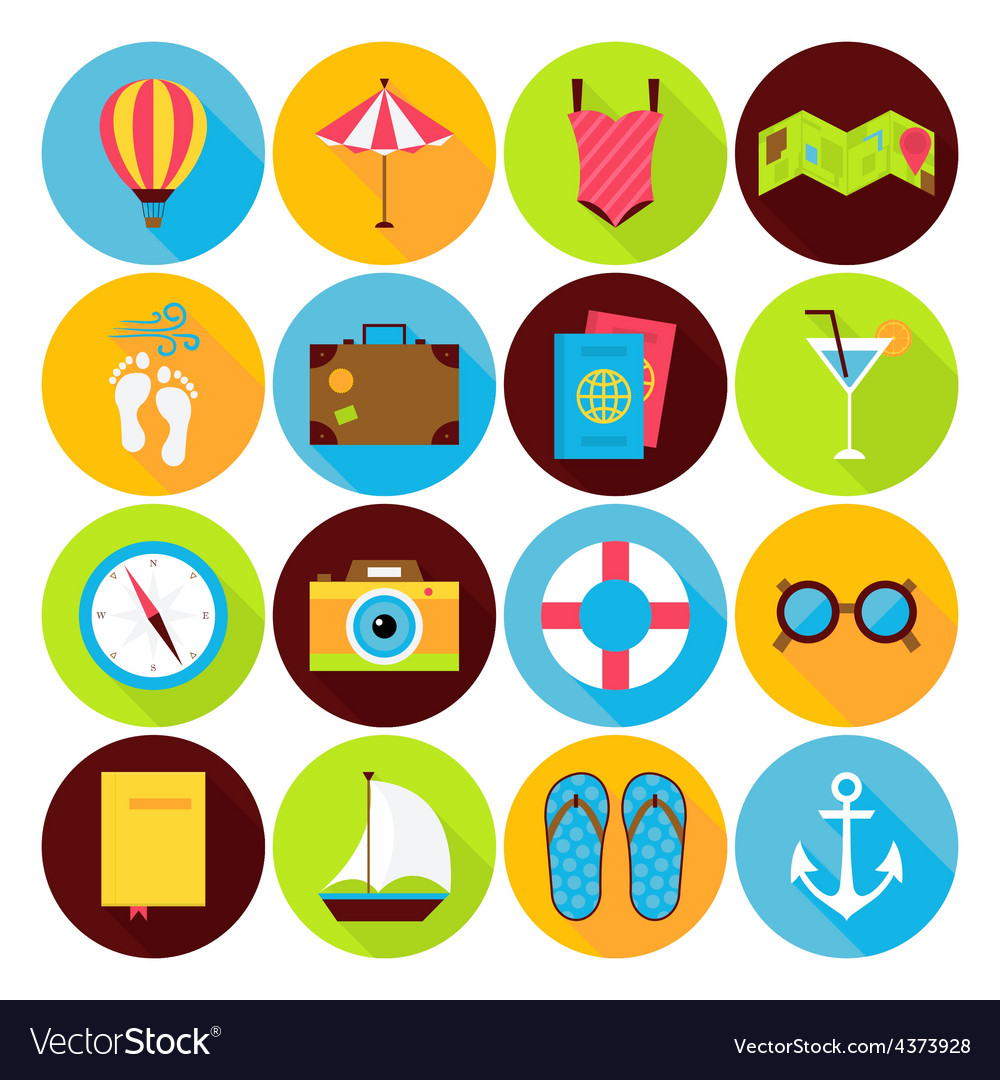 Flat summer holiday icons set vector | Price: 1 Credit (USD $1)