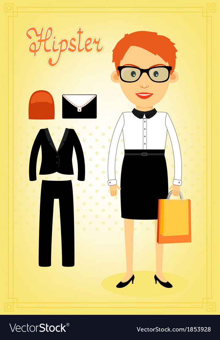 Hipster character elements for business woman vector | Price: 1 Credit (USD $1)