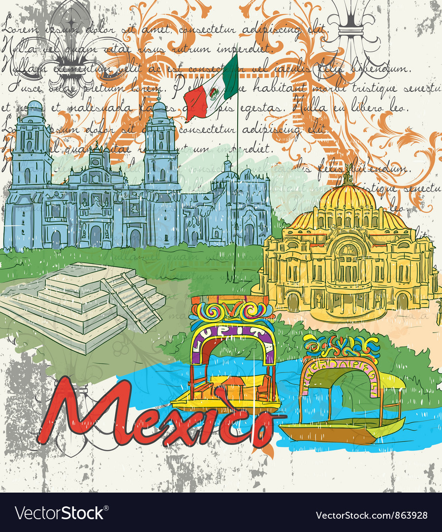 Mexico doodles vector | Price: 3 Credit (USD $3)
