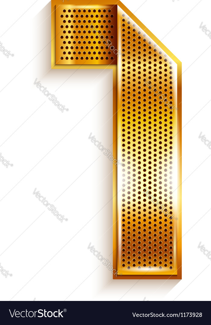 Number metal gold ribbon - 1 - one vector | Price: 1 Credit (USD $1)