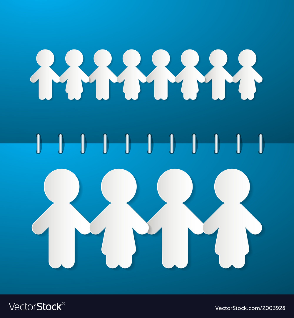 Paper people holding hands on blue notebook vector | Price: 1 Credit (USD $1)