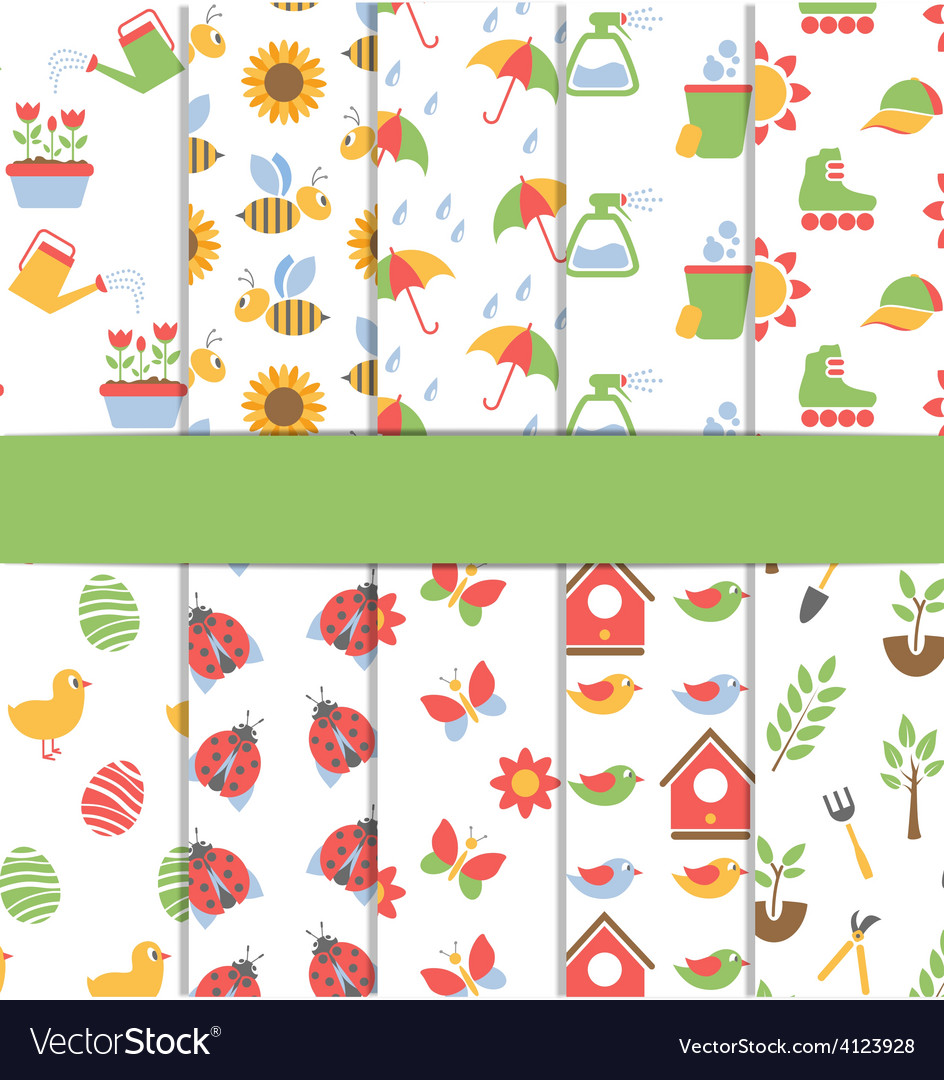 Set of 10 seamless patterns of spring vector | Price: 1 Credit (USD $1)