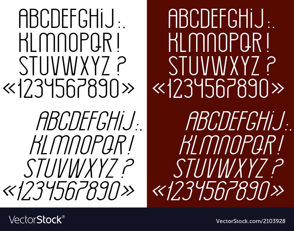 Slim font numbers and punctuation marks vector | Price: 1 Credit (USD $1)