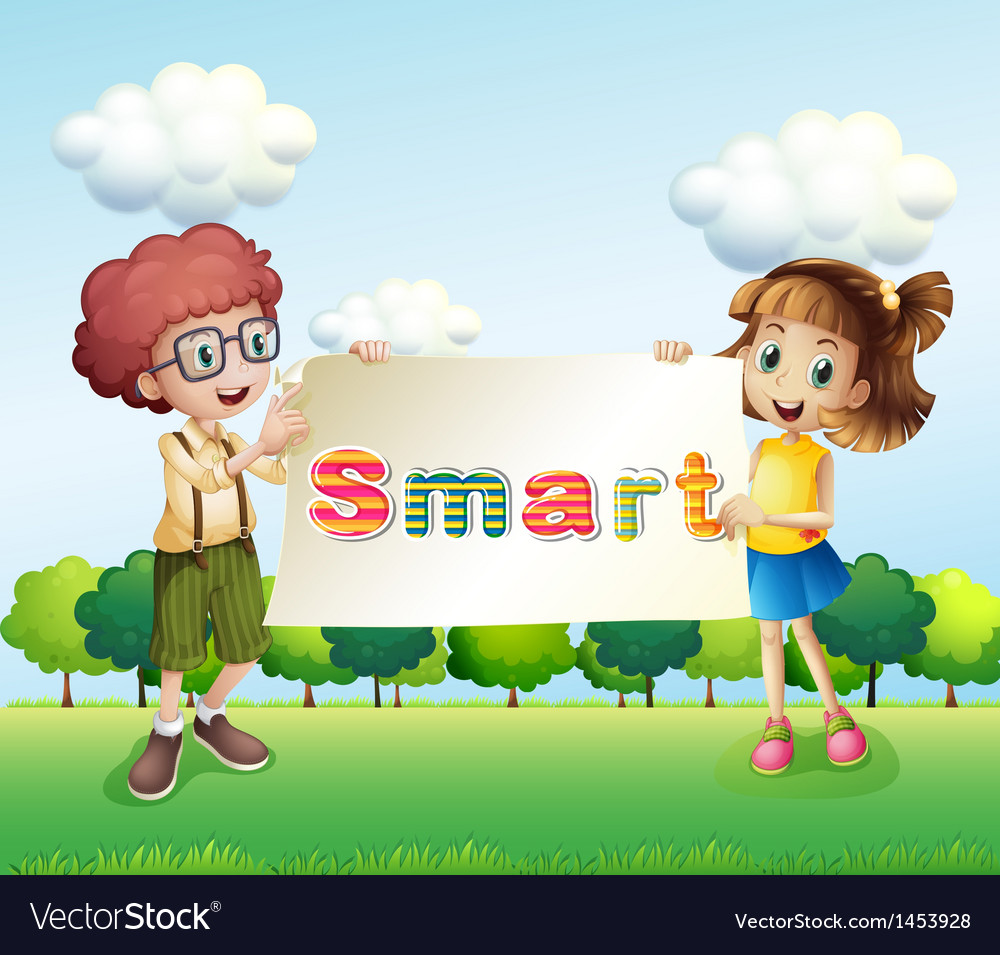 Smiling kids holding a signboard vector | Price: 1 Credit (USD $1)