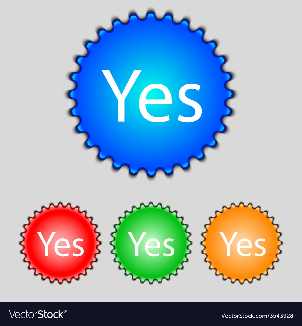 Yes sign icon positive check symbol set of colored vector | Price: 1 Credit (USD $1)