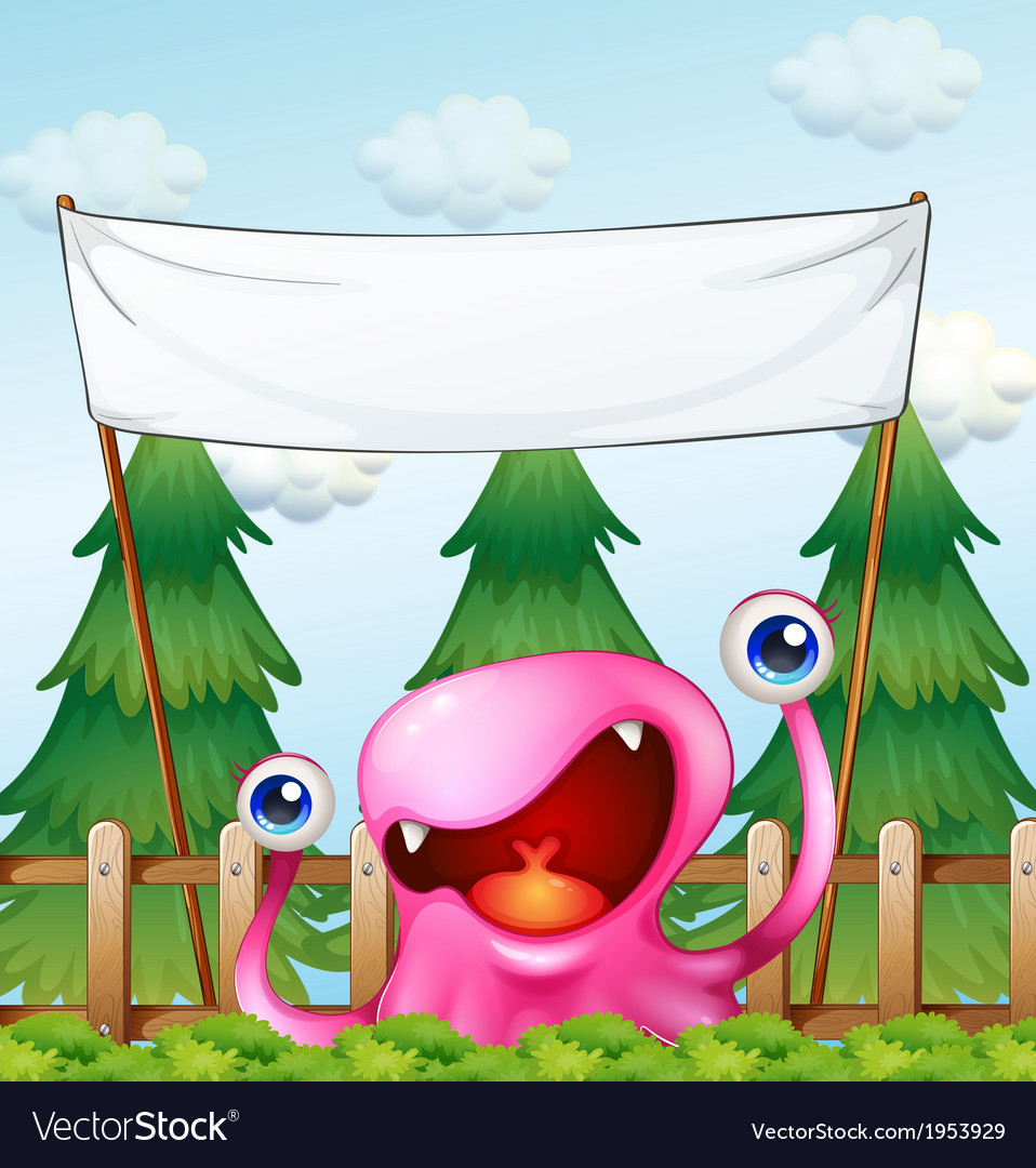 A monster below the empty signage vector | Price: 3 Credit (USD $3)