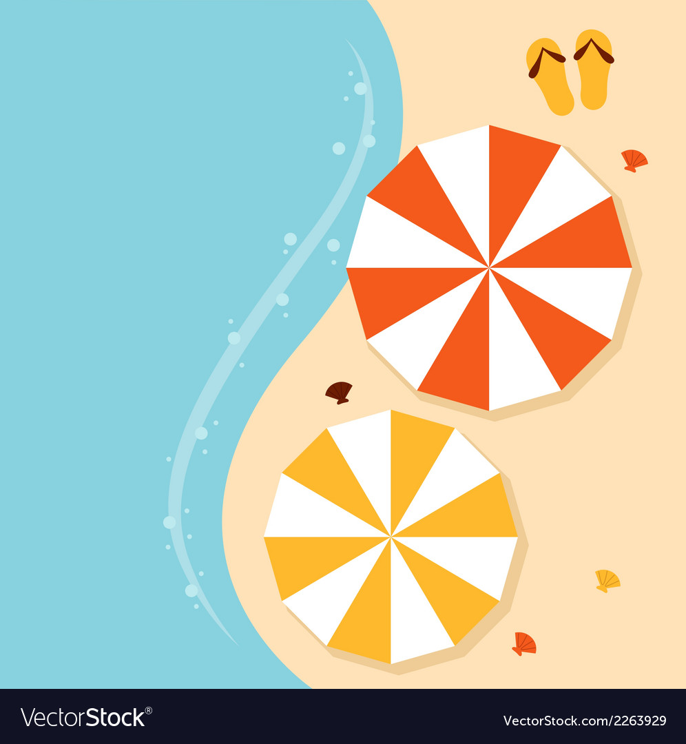 Beach summer background with umbrellas vector | Price: 1 Credit (USD $1)