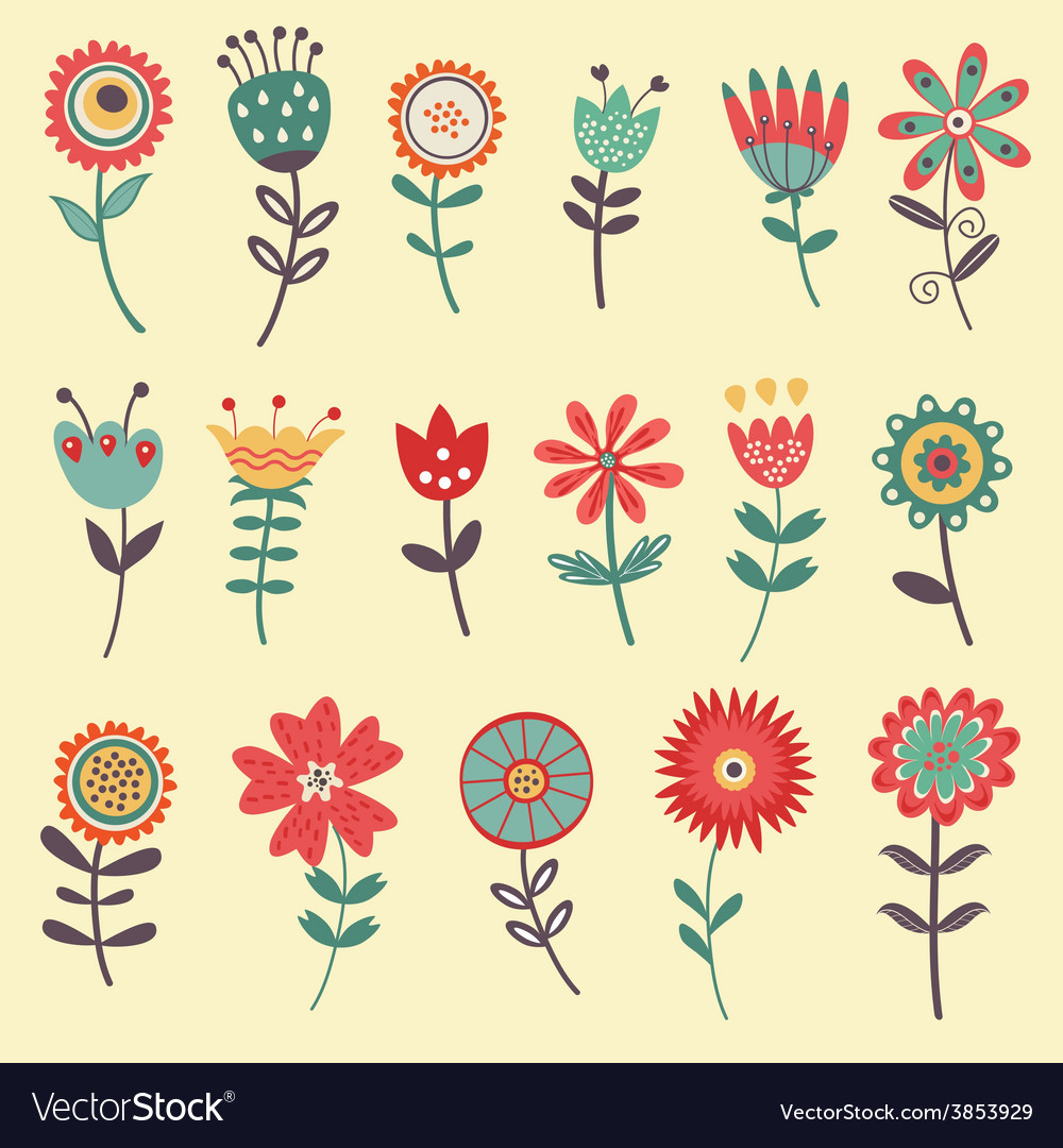 Beautiful collection of flowers vector | Price: 1 Credit (USD $1)