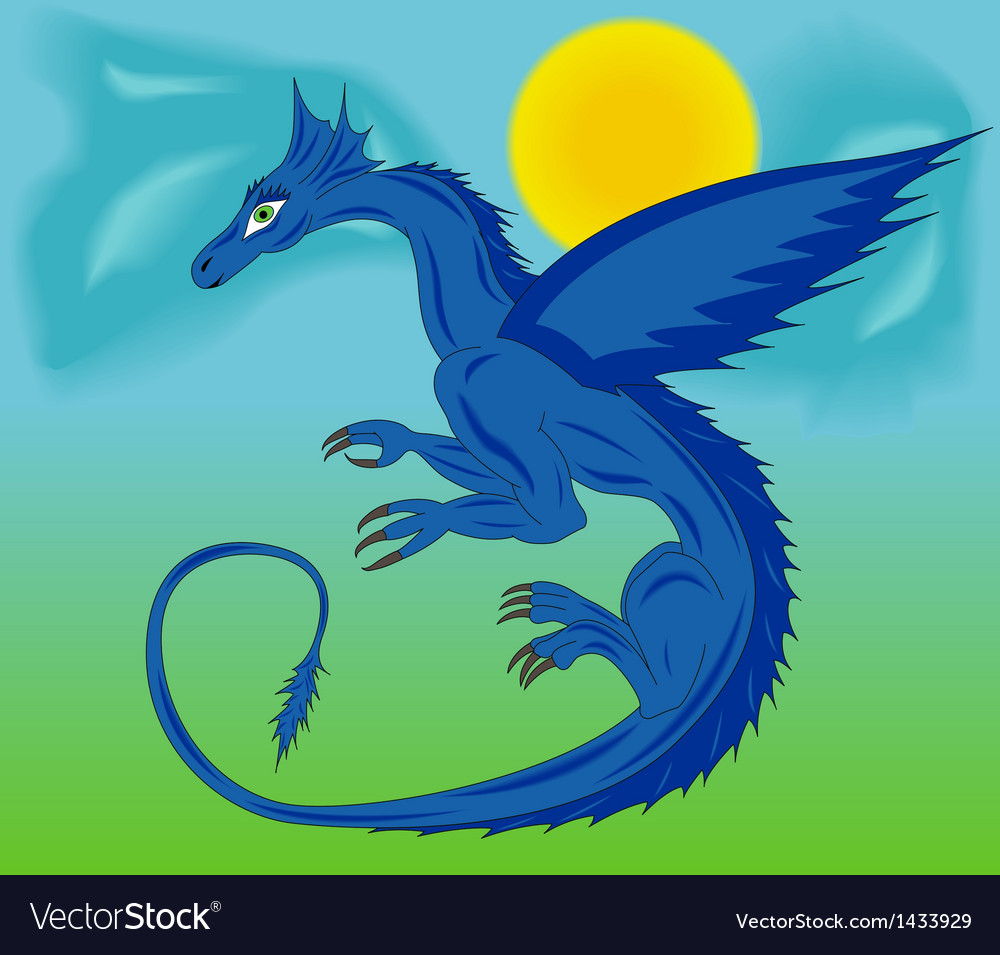 Blue dragon in the sky vector   Price: 1 Credit (USD $1)