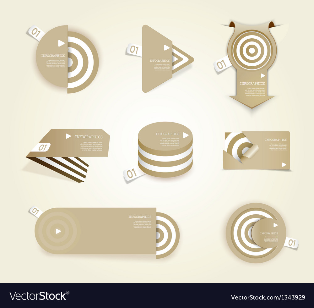 Brown set of paper labels with place for your own vector | Price: 1 Credit (USD $1)