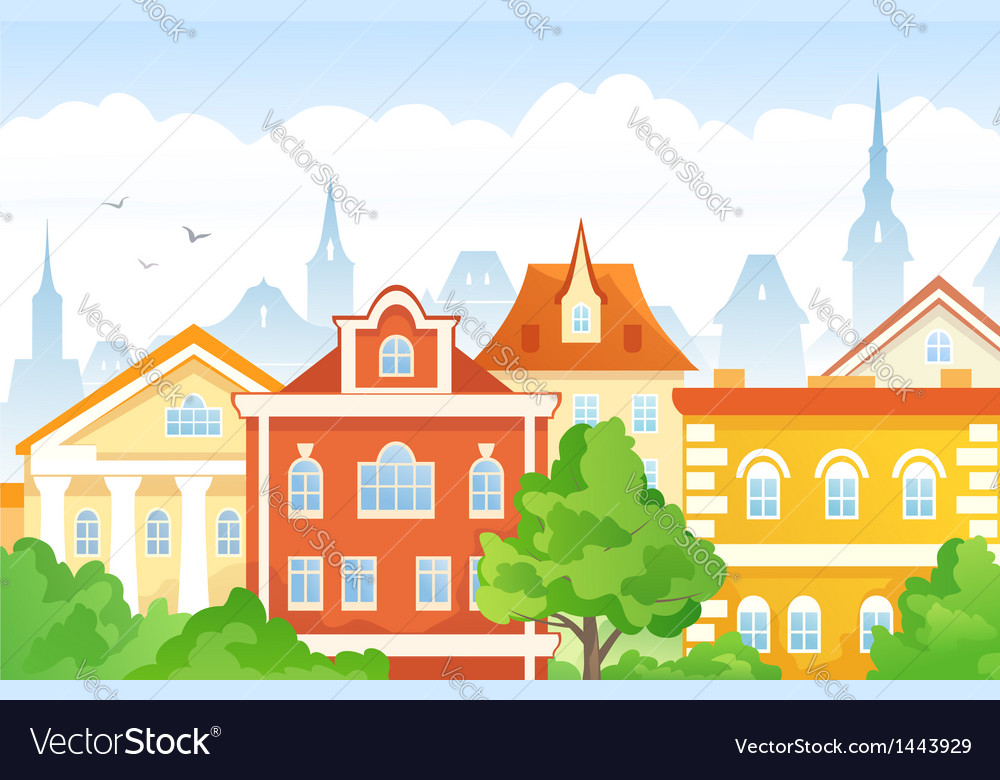 Cartoon town vector | Price: 1 Credit (USD $1)