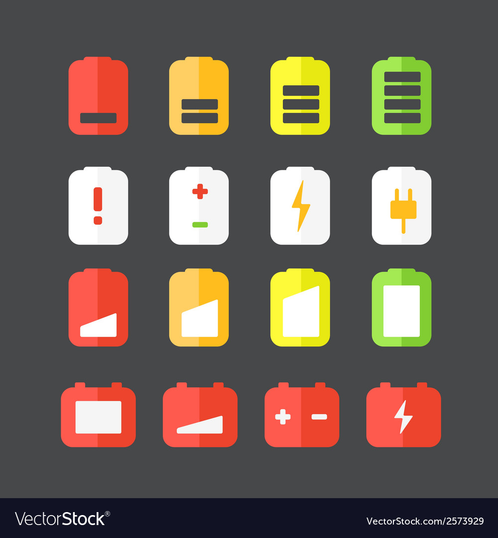 Different accumulator status icons vector | Price: 1 Credit (USD $1)