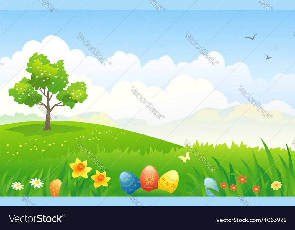 Easter landscape vector | Price: 3 Credit (USD $3)