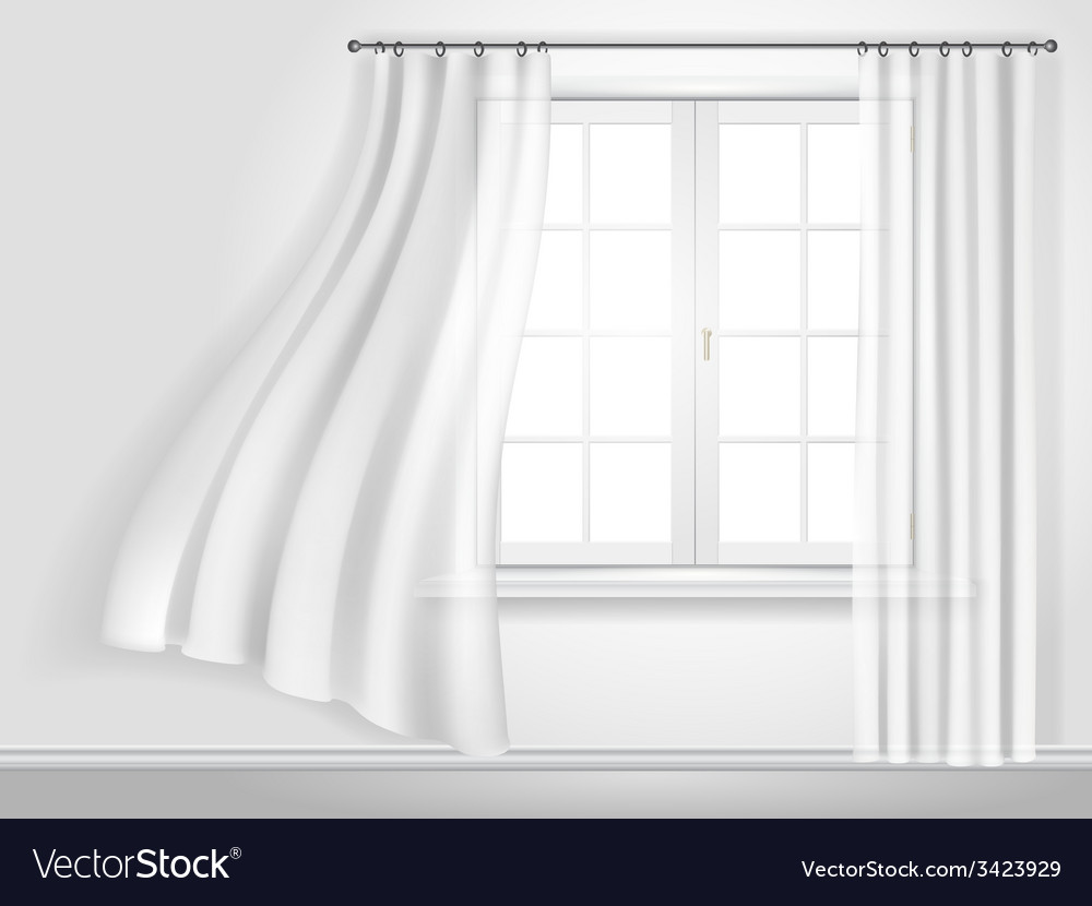 Fluttering curtains and window vector | Price: 1 Credit (USD $1)