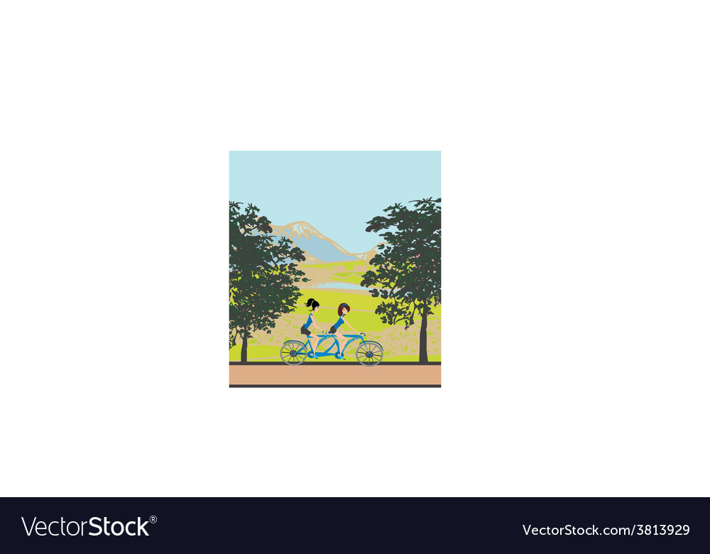 Girls riding tandem bicycle vector   Price: 1 Credit (USD $1)