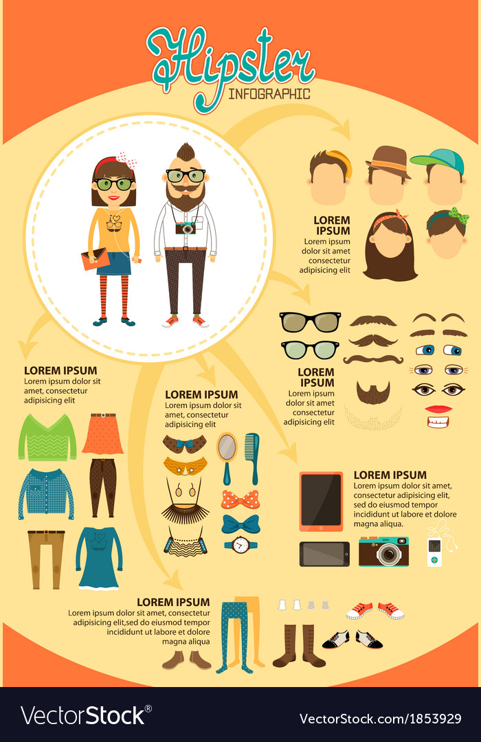 Hipster infographics with fashion design elements vector | Price: 1 Credit (USD $1)