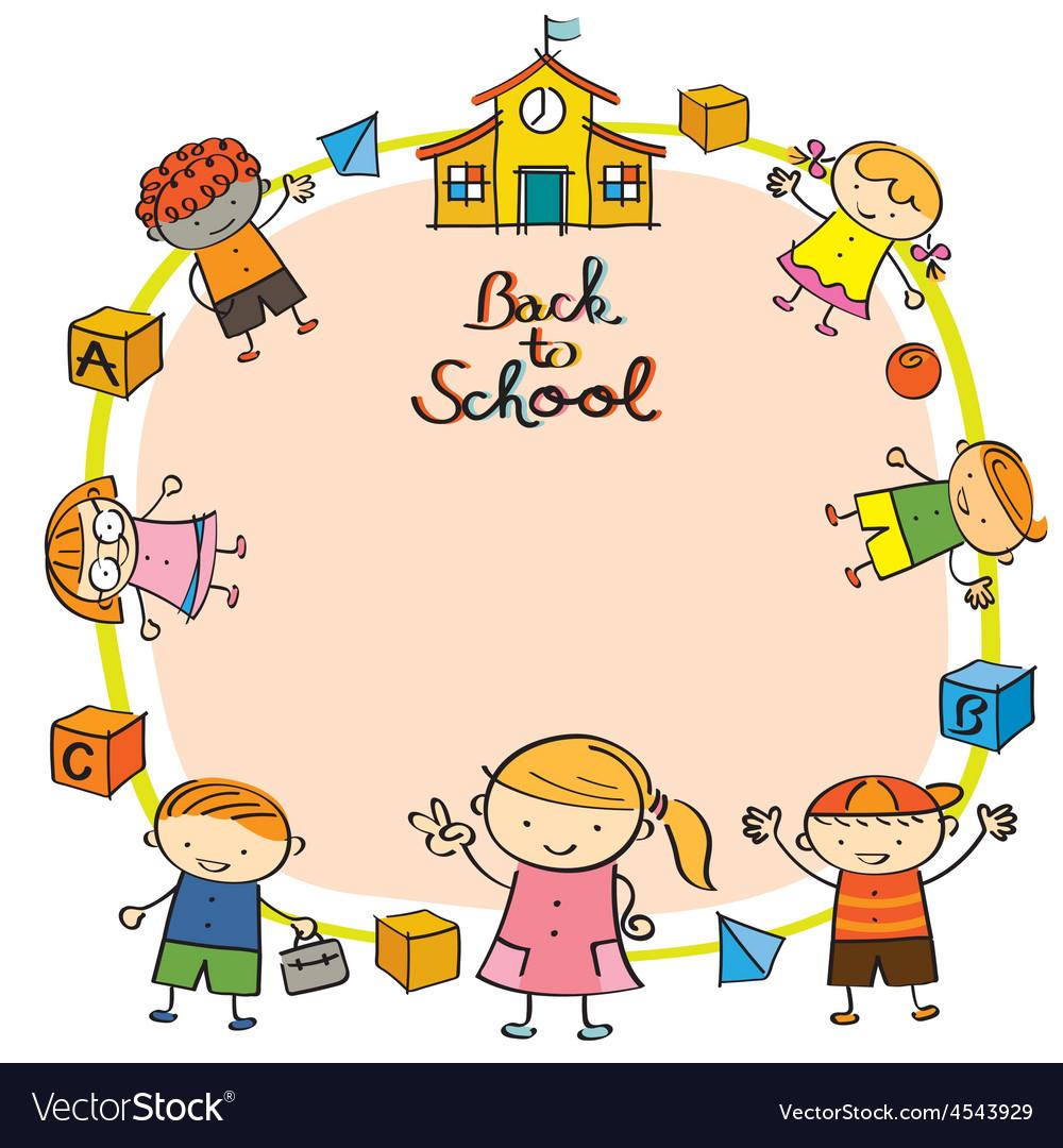 Kindergarten kids back to school frame vector | Price: 1 Credit (USD $1)