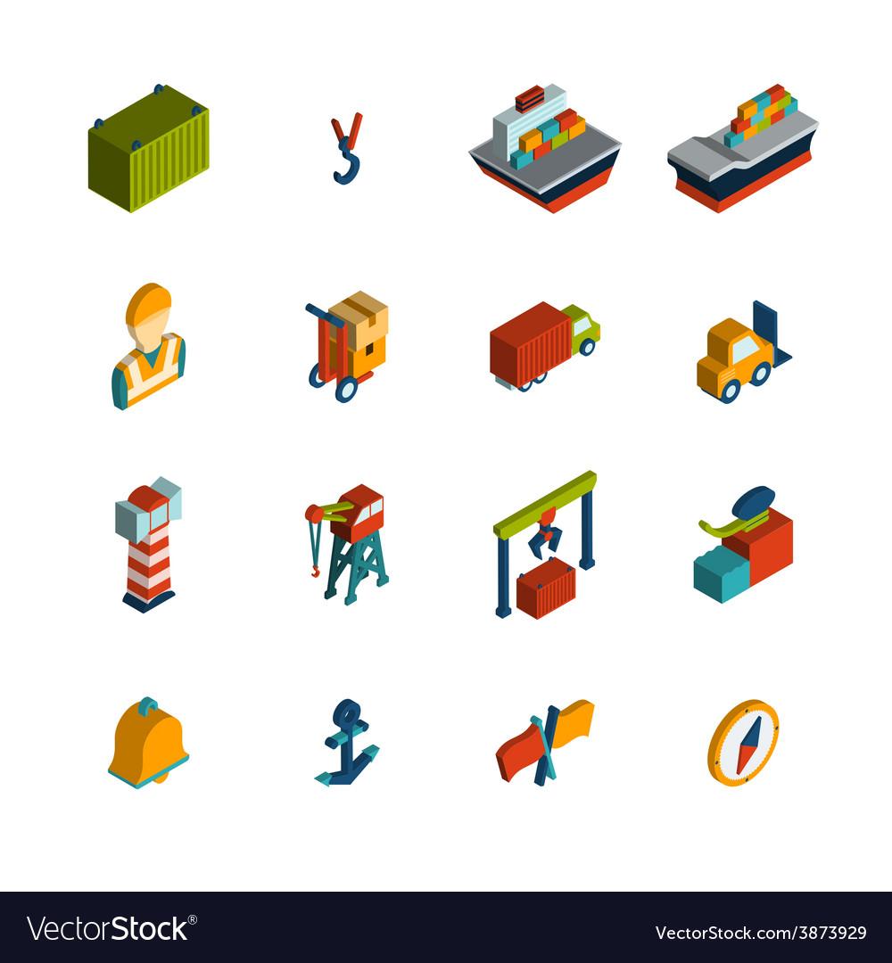 Seaport icon isometric vector | Price: 1 Credit (USD $1)
