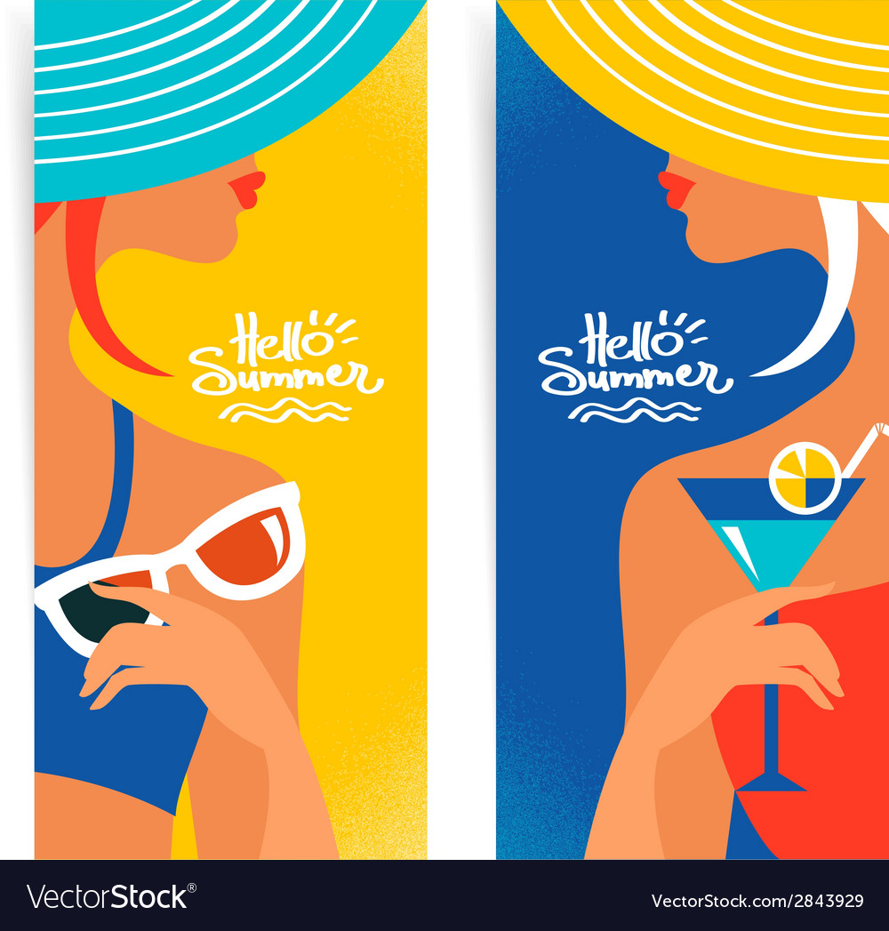 Set of summer banners with beautiful women vector | Price: 1 Credit (USD $1)