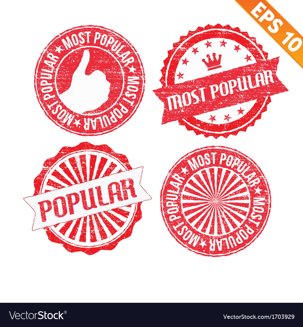Stamp sticker most popular collection - - e vector | Price: 1 Credit (USD $1)