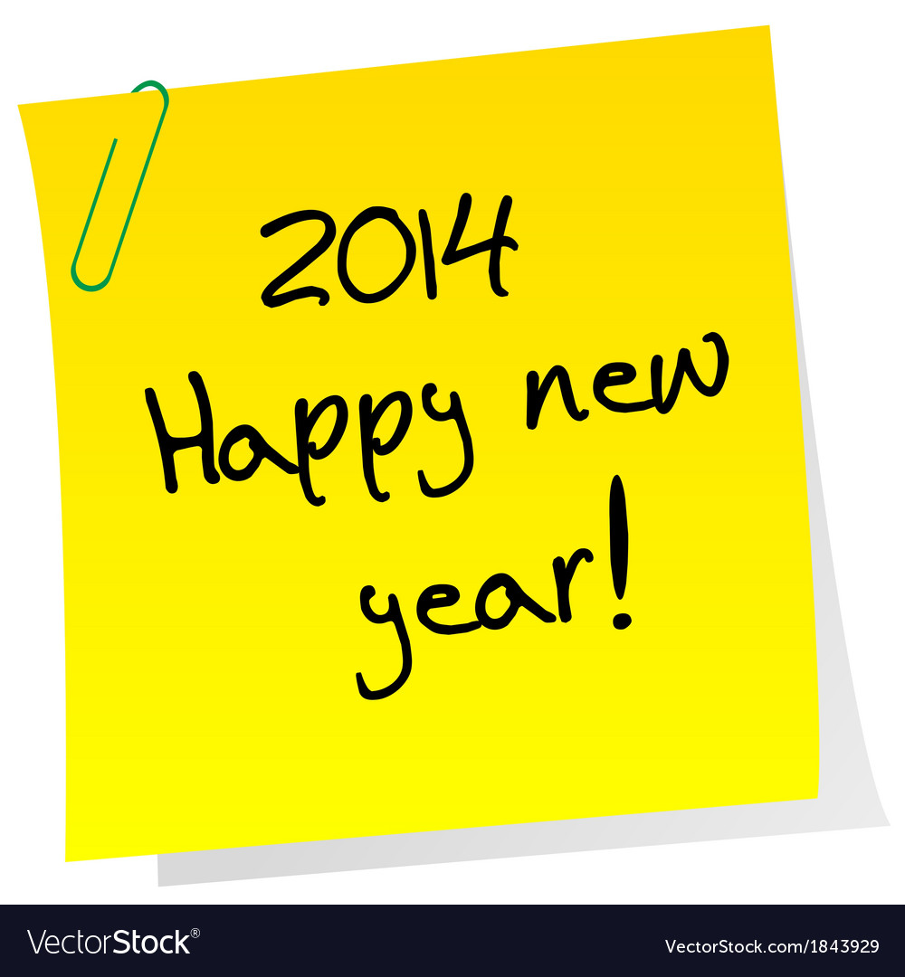 Sticker note with 2014 happy new year message vector | Price: 1 Credit (USD $1)