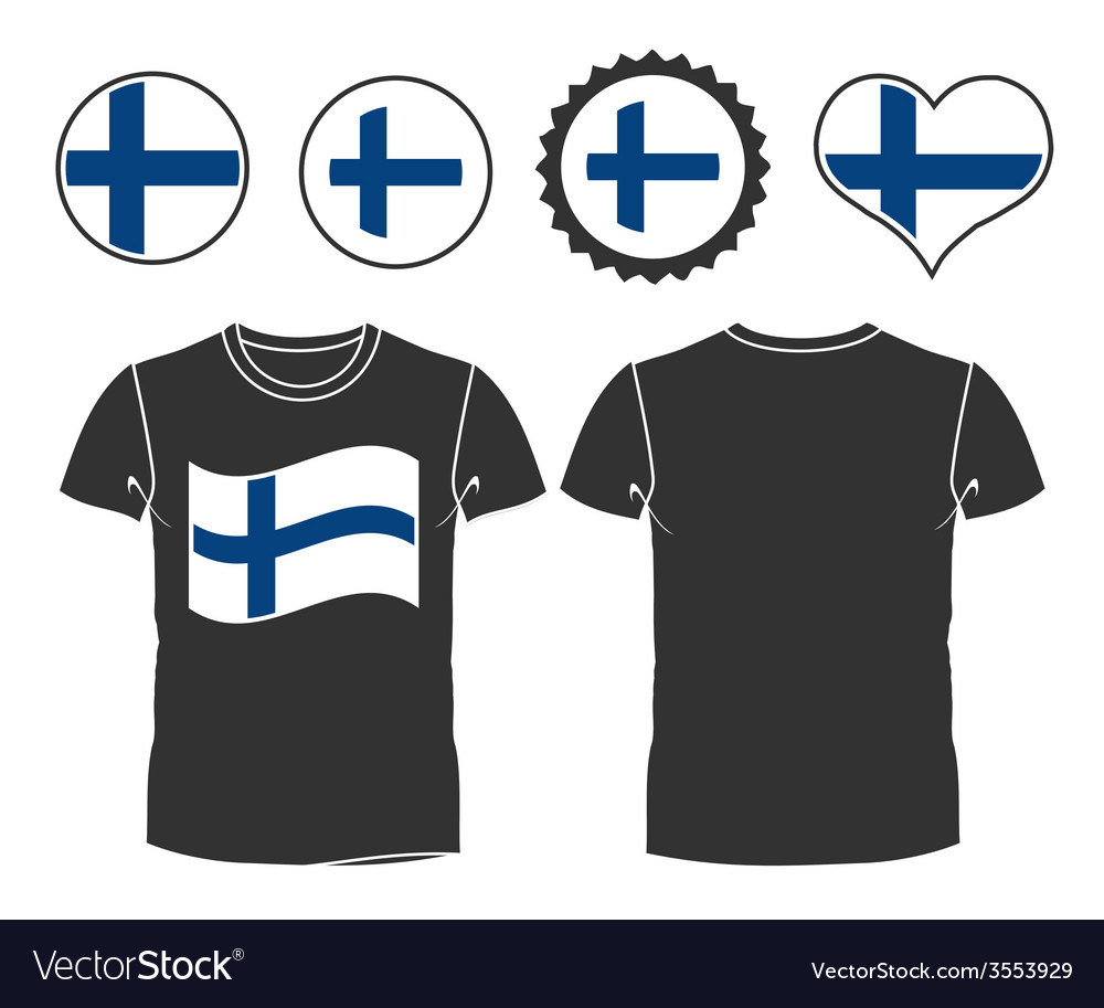 T-shirt with the flag of finland vector | Price: 1 Credit (USD $1)