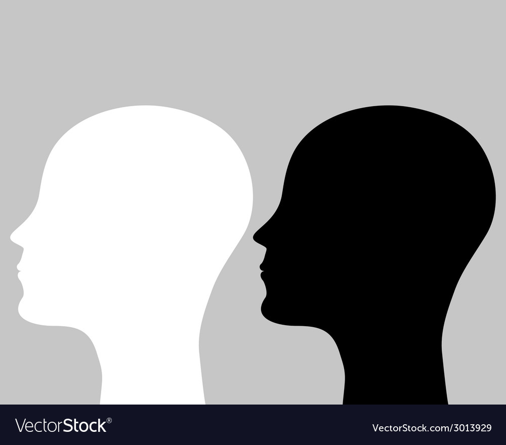 Two silhouettes human head vector | Price: 1 Credit (USD $1)
