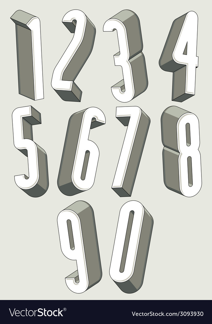 3d tall condensed numbers set vector   Price: 1 Credit (USD $1)