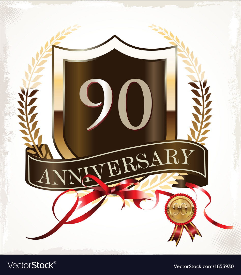 90 years anniversary golden label vector | Price: 1 Credit (USD $1)