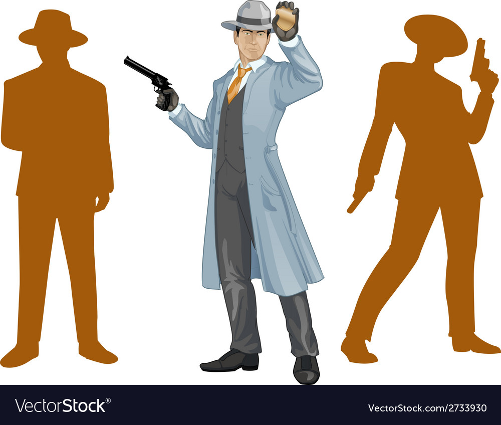 Asian police chief and people silhouettes vector | Price: 1 Credit (USD $1)