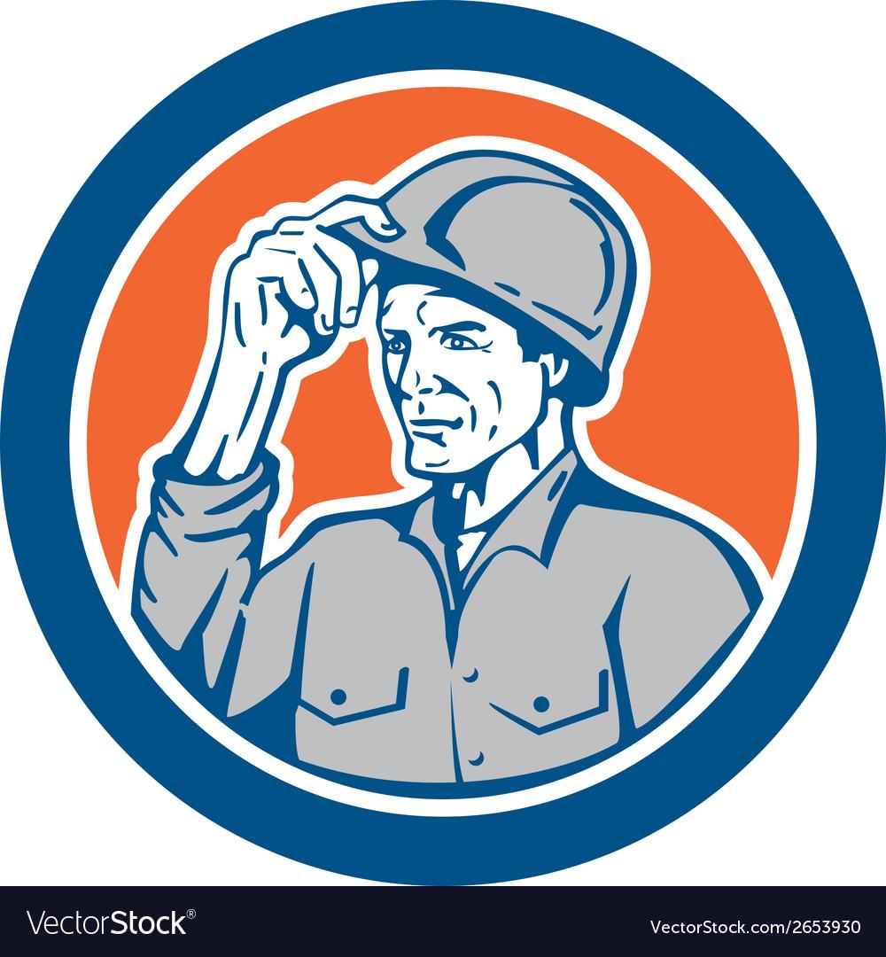 Builder carpenter tipping hardhat circle retro vector | Price: 1 Credit (USD $1)