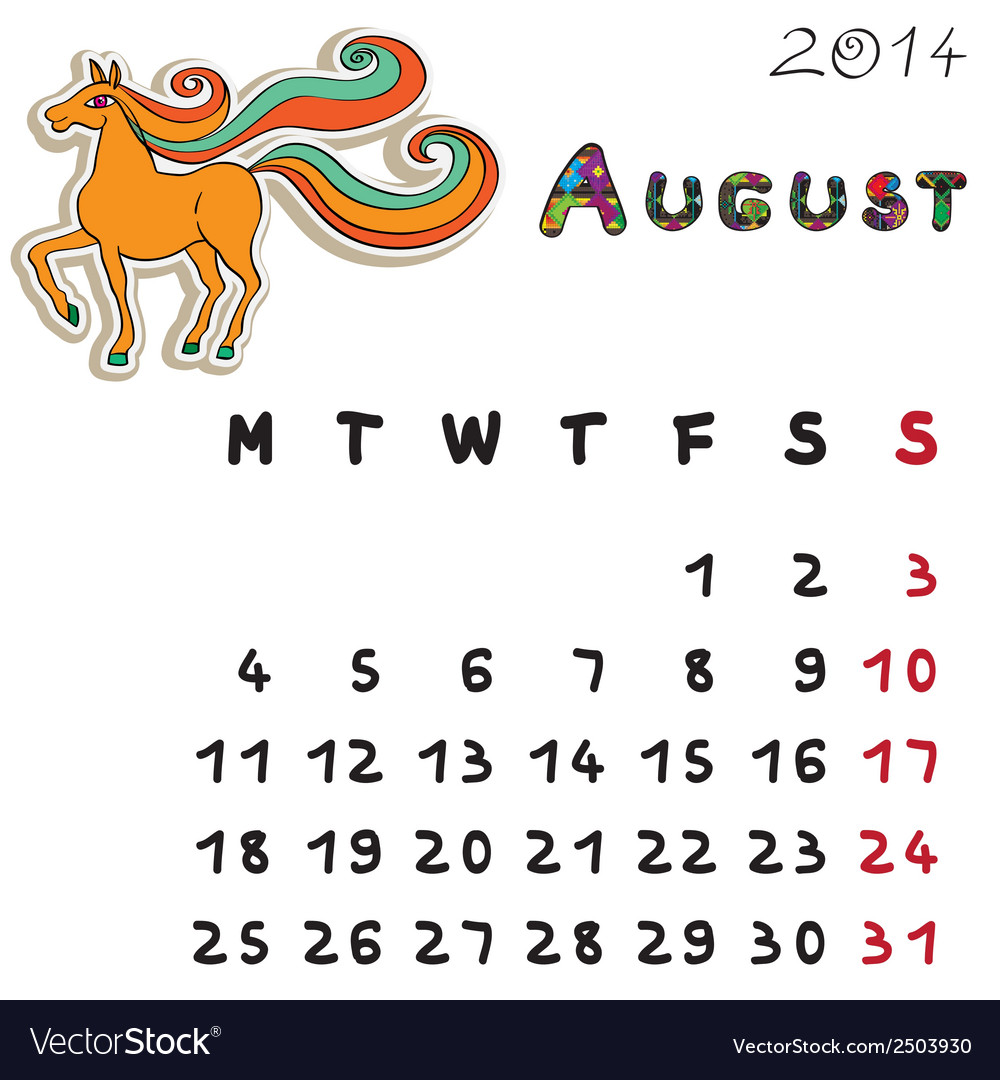 Color horse calendar 2014 august vector | Price: 1 Credit (USD $1)