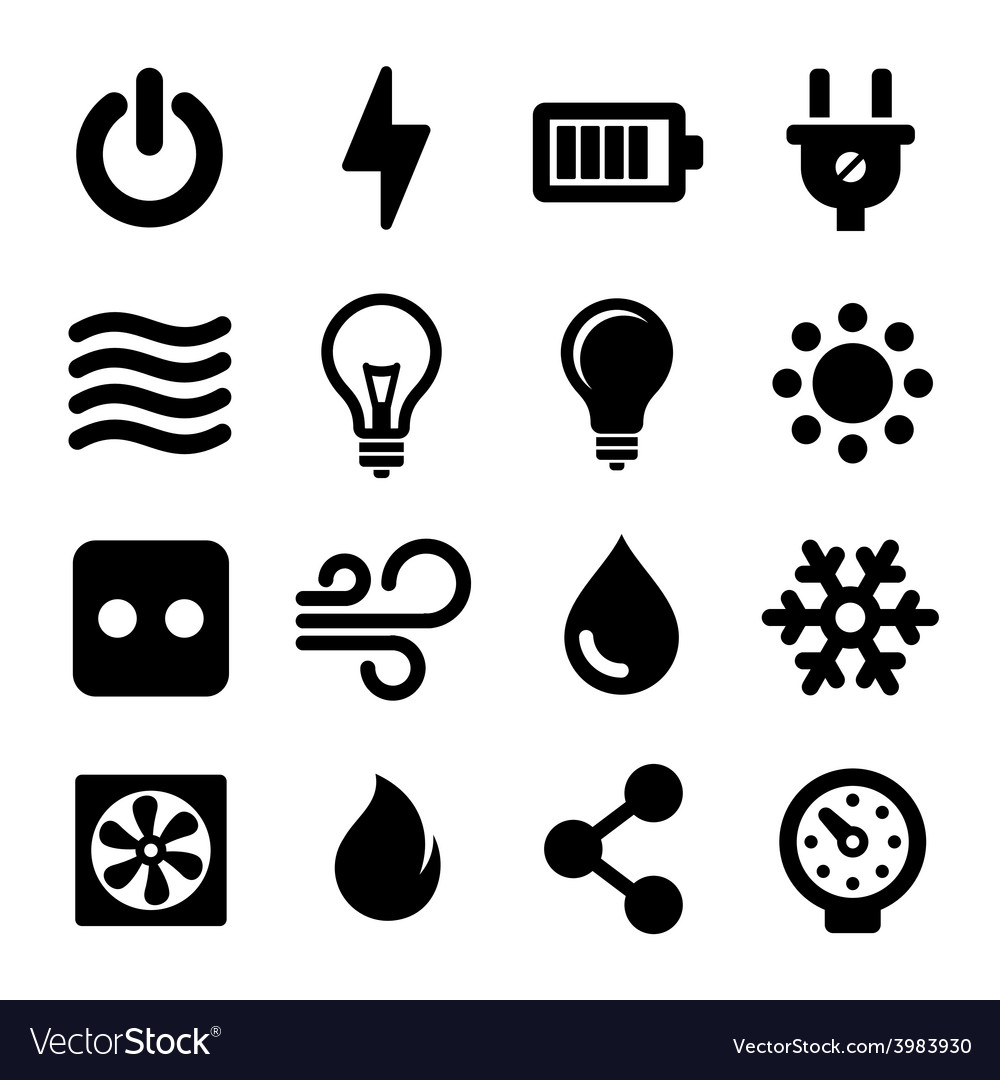 Electric icons set vector | Price: 1 Credit (USD $1)