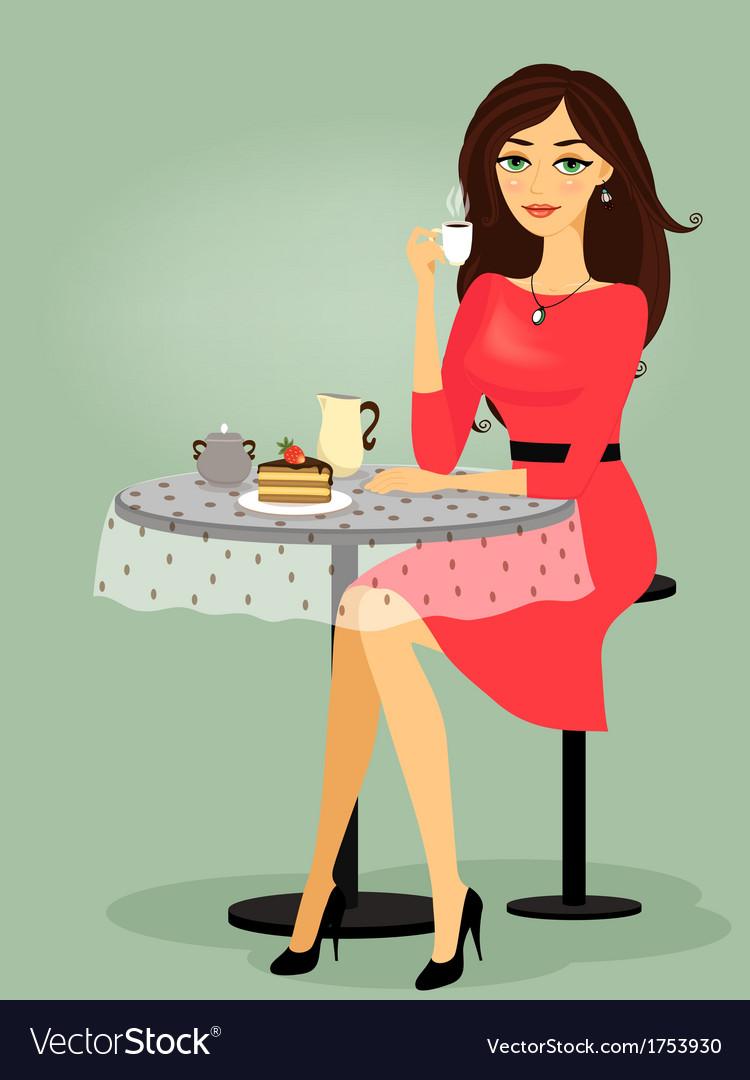 Girl in the cafe blank promo vector | Price: 1 Credit (USD $1)