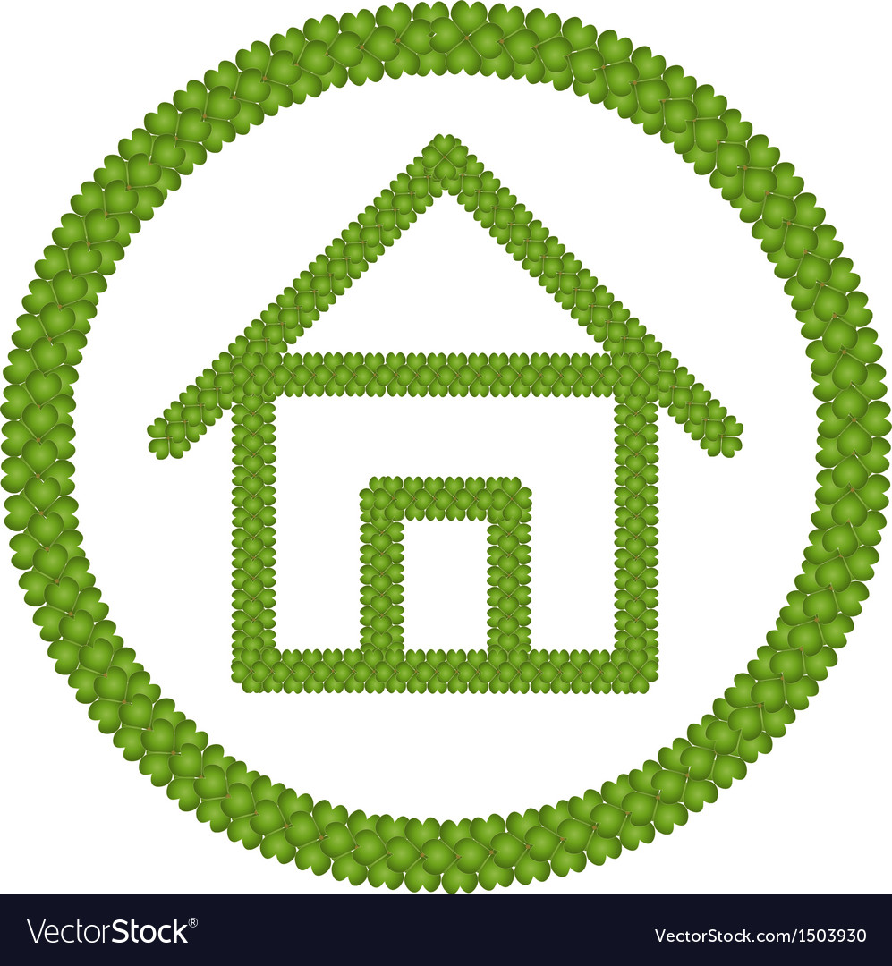 Green four leaf clover of home icon vector | Price: 1 Credit (USD $1)
