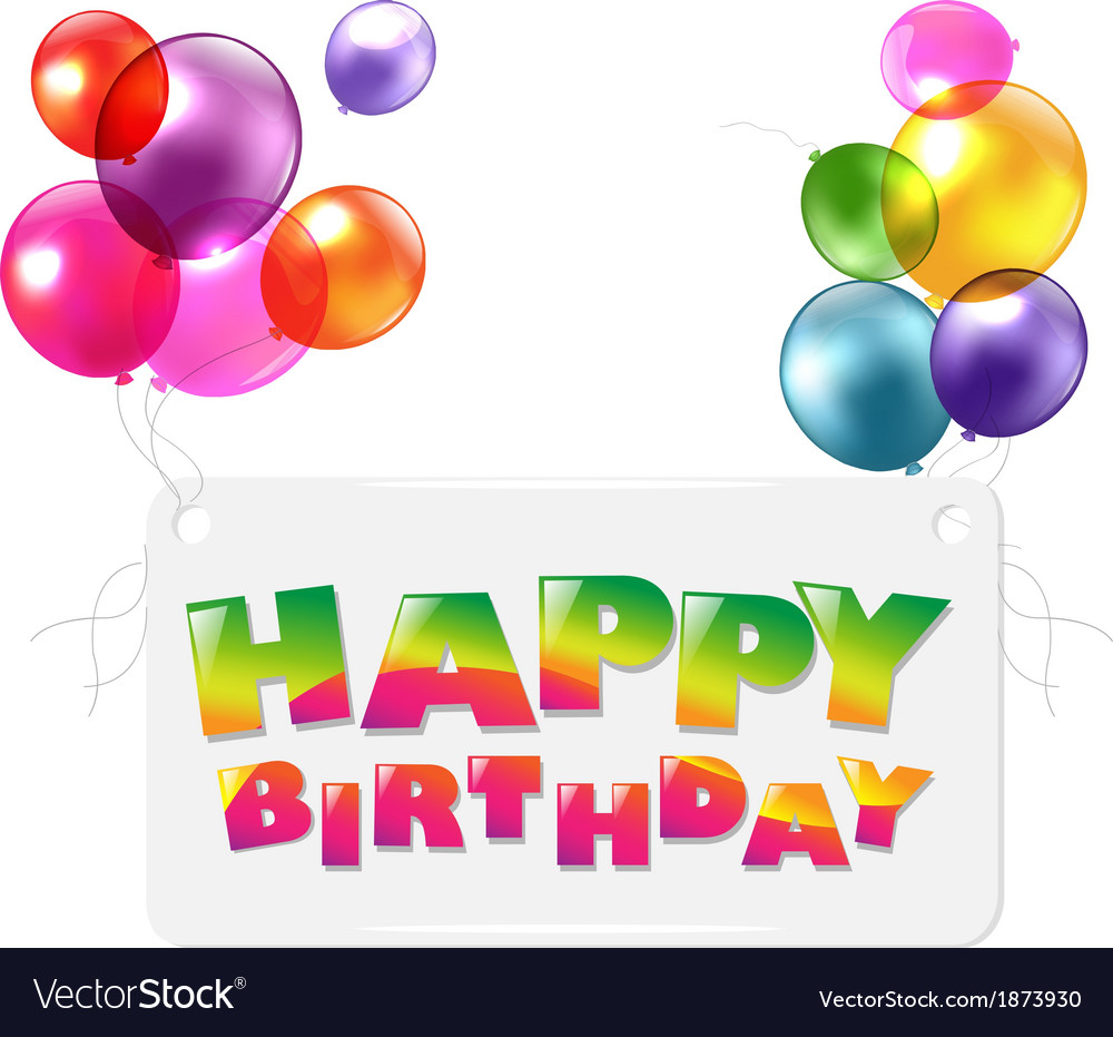 Happy birthday colorful greetings card vector | Price: 1 Credit (USD $1)