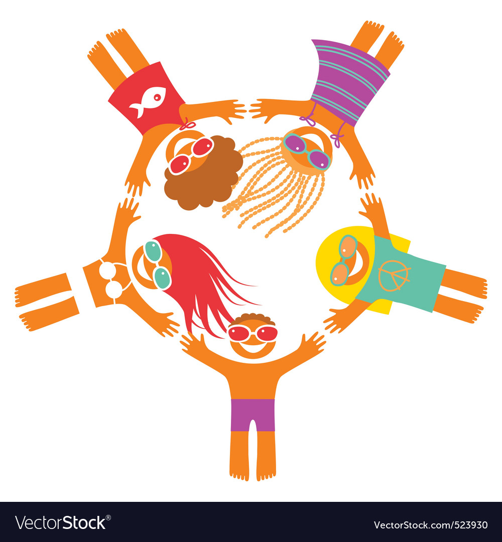 Happy summer people vector | Price: 1 Credit (USD $1)