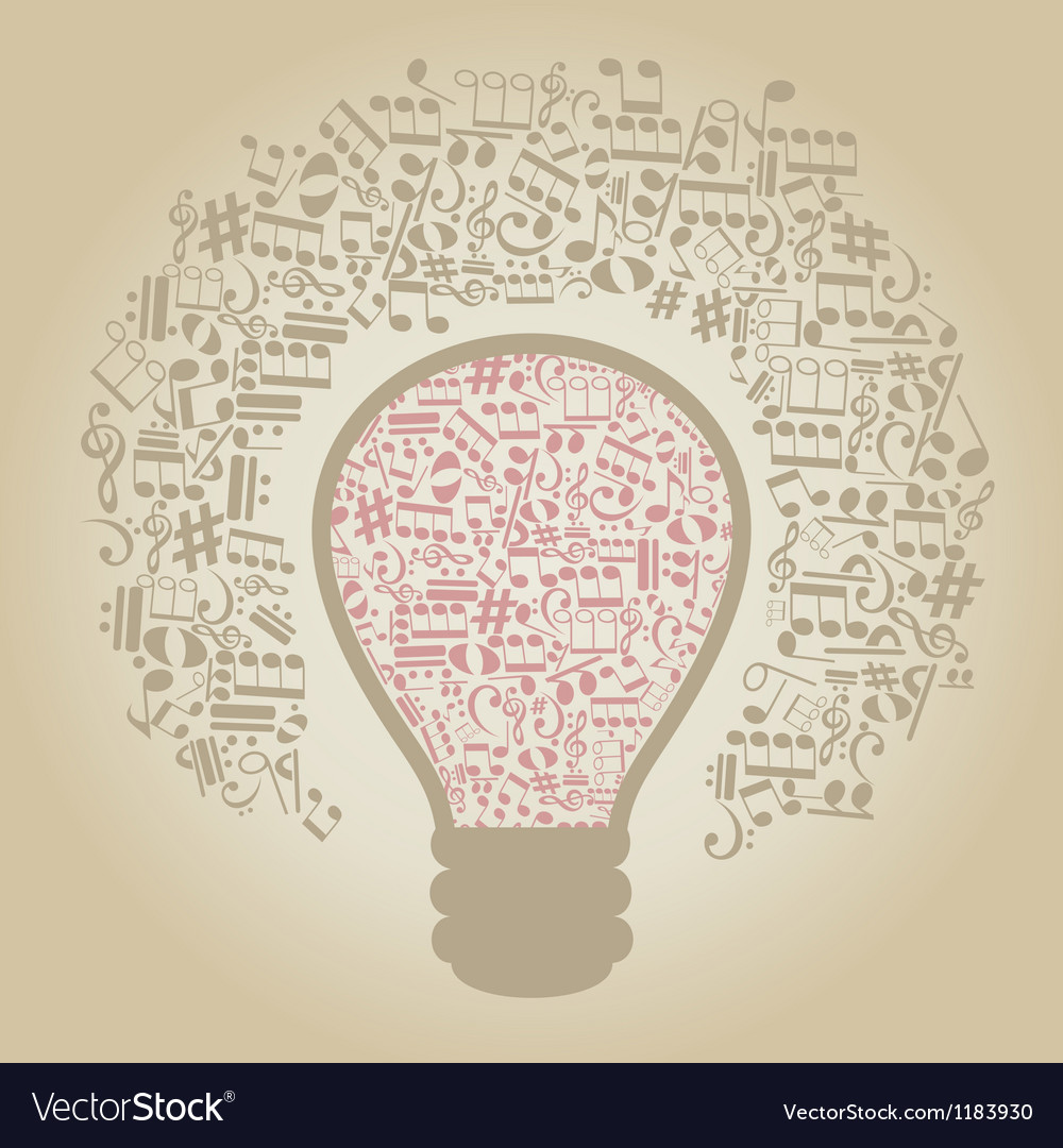 Music a bulb vector | Price: 1 Credit (USD $1)