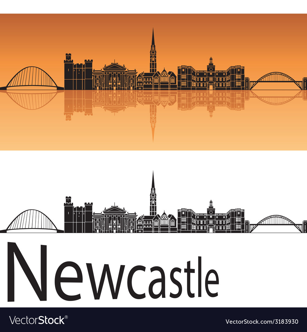 Newcastle skyline in orange background vector | Price: 1 Credit (USD $1)