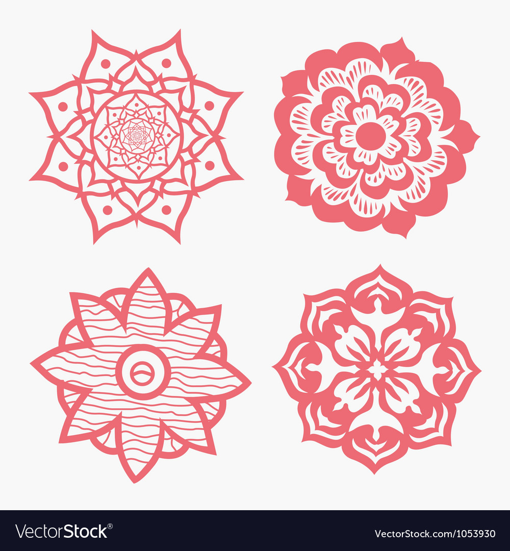 Ornamental round floral pattern with many details vector | Price: 1 Credit (USD $1)