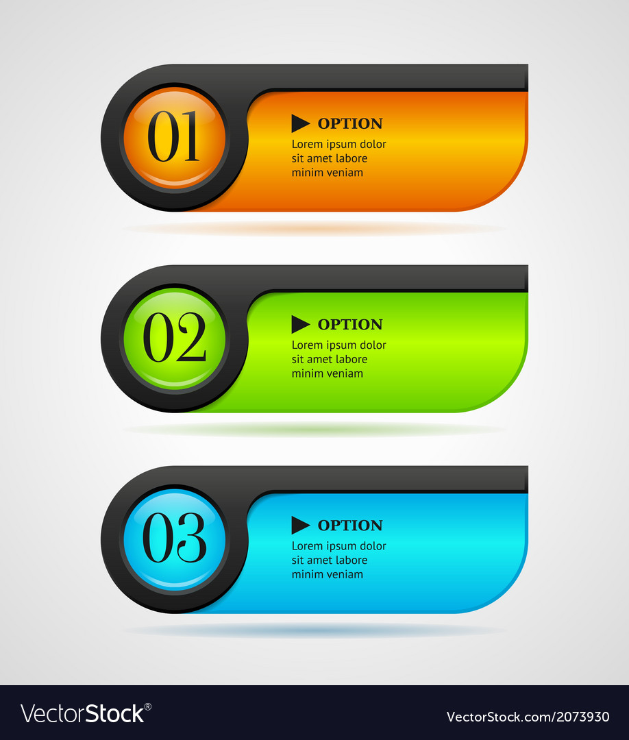 Shine horizontal colorful options bannersbuttons vector | Price: 1 Credit (USD $1)