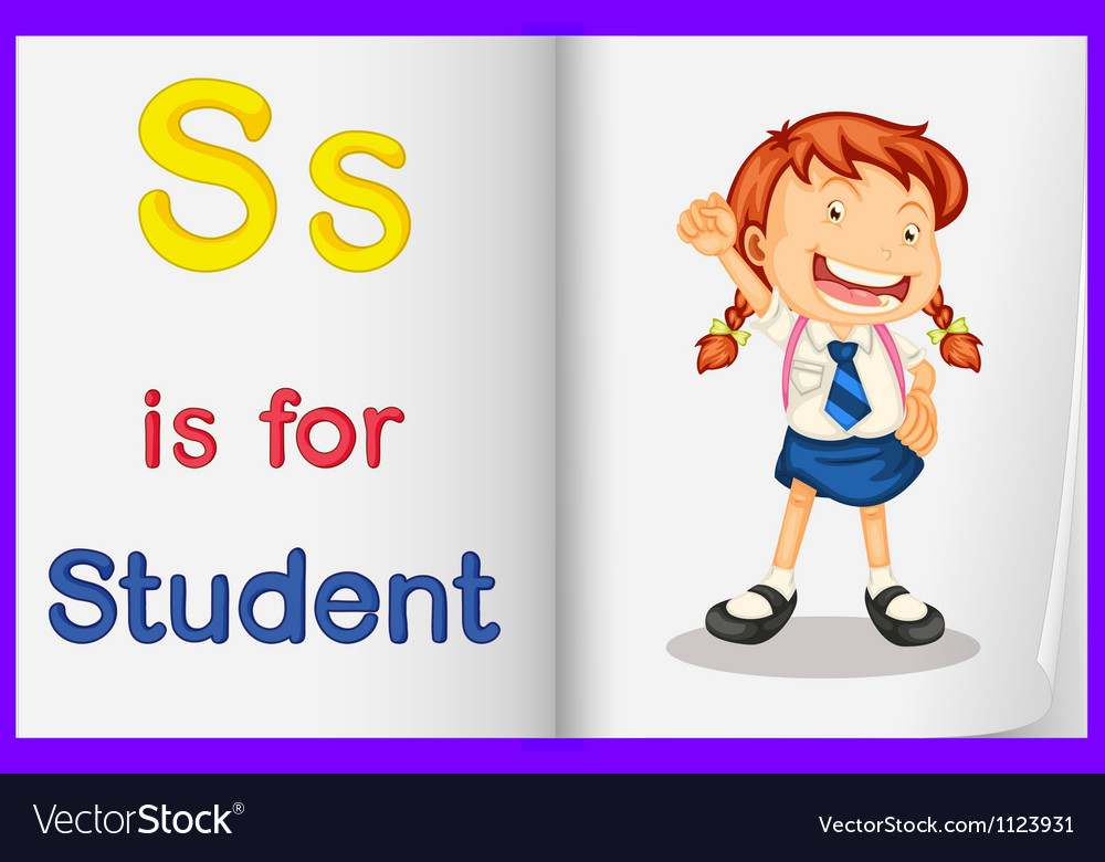 A picture of a student in a book vector | Price: 1 Credit (USD $1)