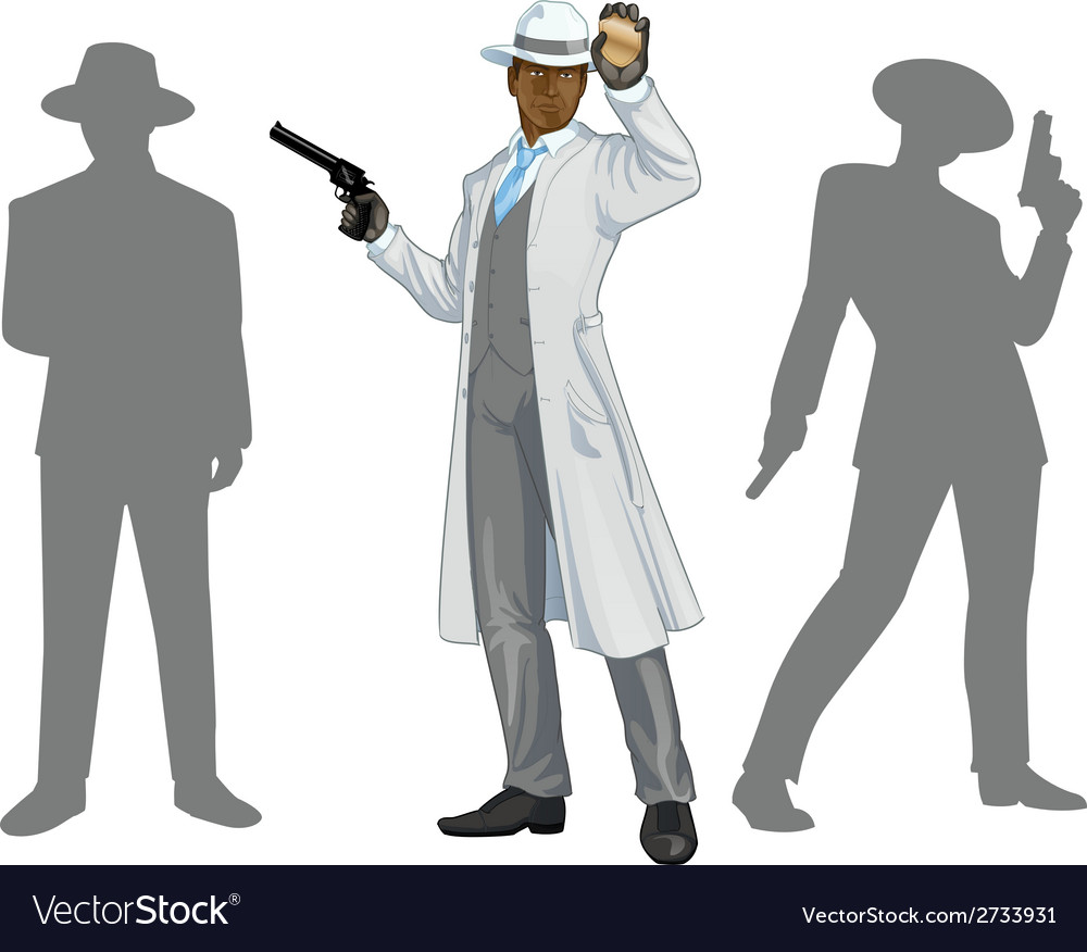 Afroamerican police chief and people silhouettes vector | Price: 1 Credit (USD $1)