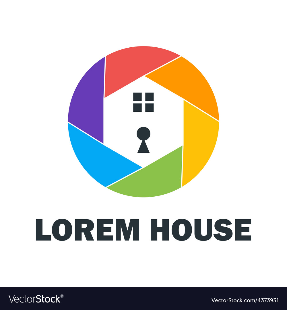 Colorful house security logo vector