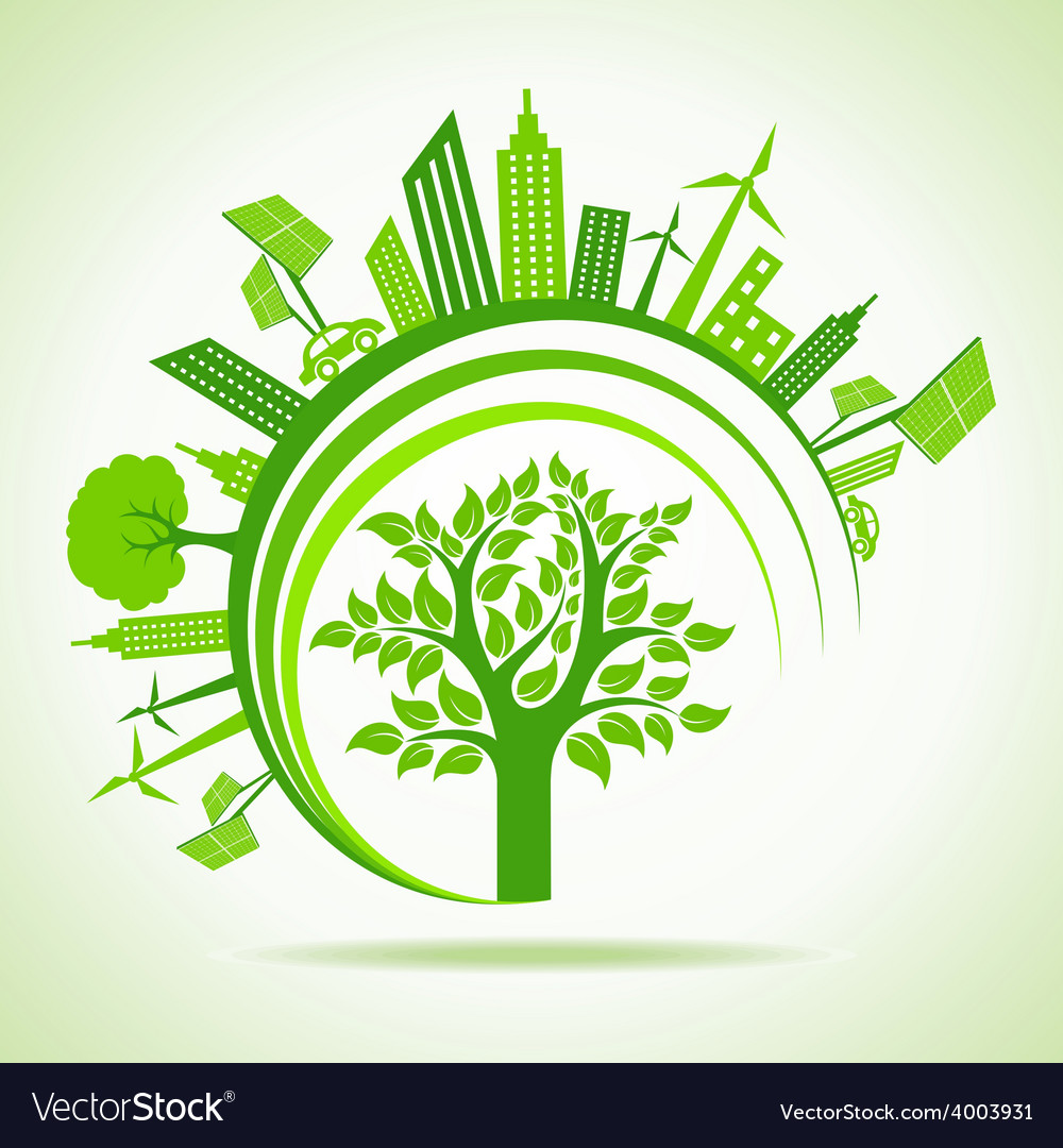 Ecology concept - eco cityscape with tree vector | Price: 1 Credit (USD $1)