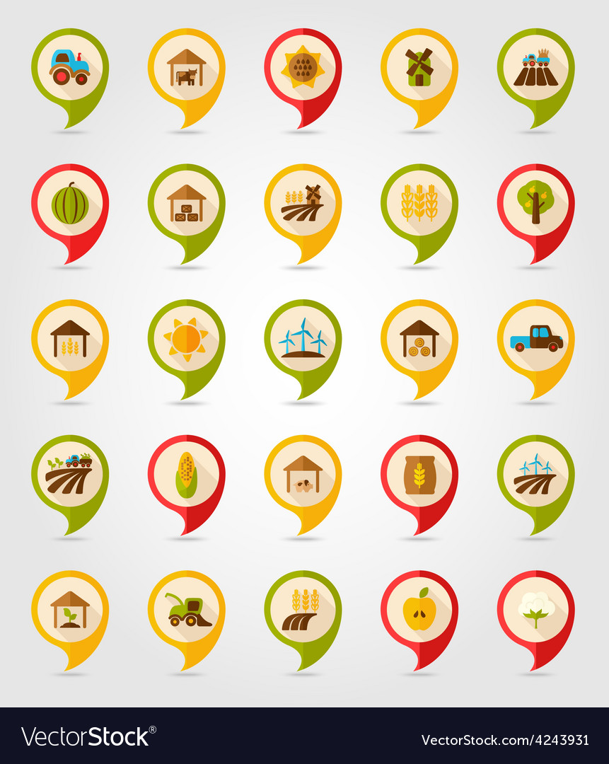 Farm field flat mapping pin icon with long shadow vector | Price: 1 Credit (USD $1)