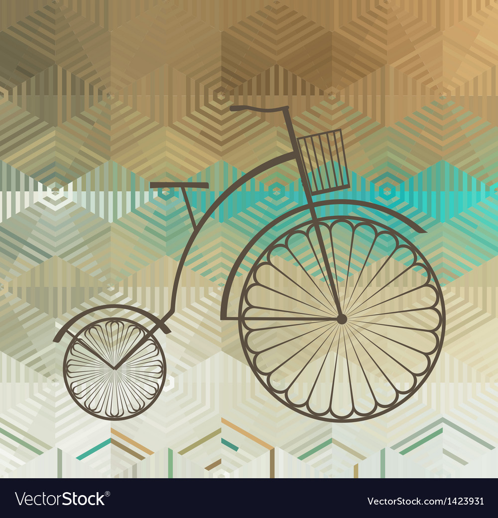 Retro bicycle on a color background vector | Price: 1 Credit (USD $1)