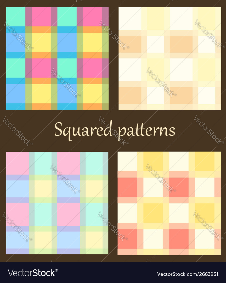 Set of 4 plaid patterns vector